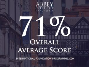 Abbey College Manchester Foundation Programme average score in 2020 is 71%