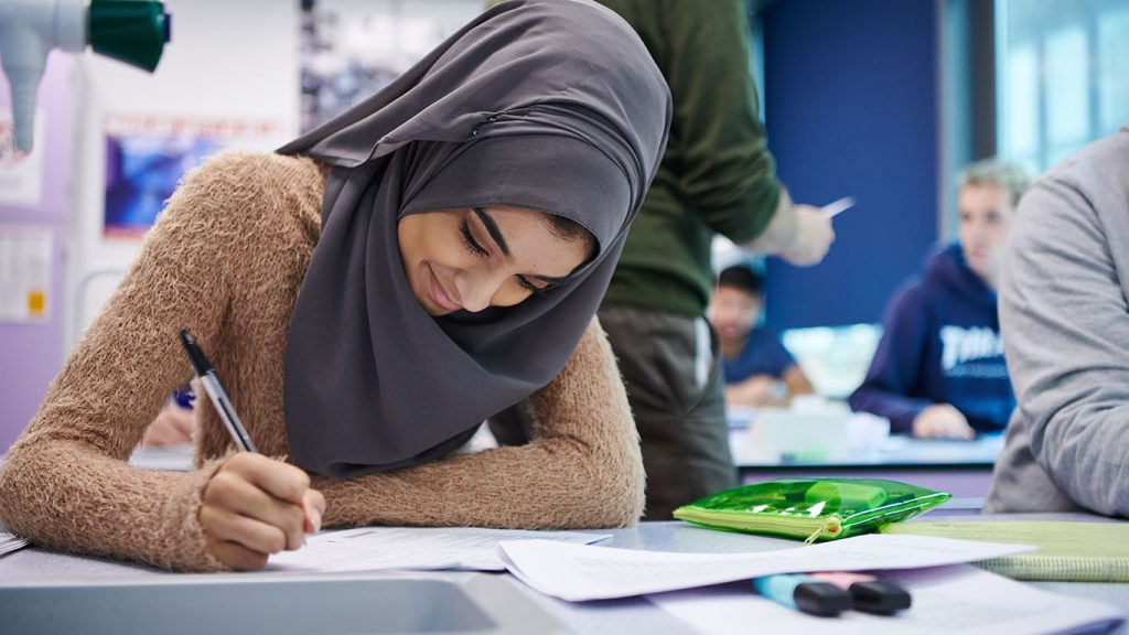 Female student in A Level class at Abbey College Manchester