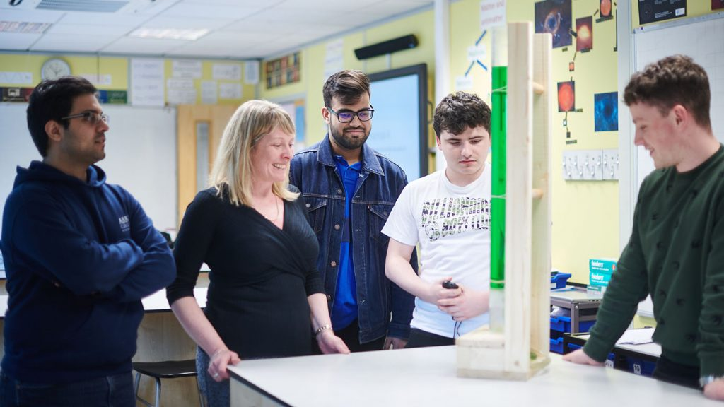 Students in science class at Abbey college Manchester