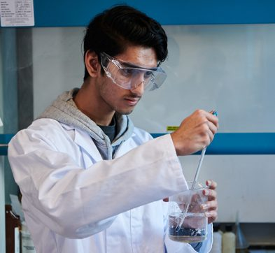 Abbey College Manchester student in Chemistry class